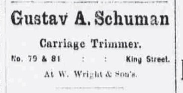 Gustav A Schuman-Carriage Trimmer-Ad-Daily Bulletin-May 5, 1890