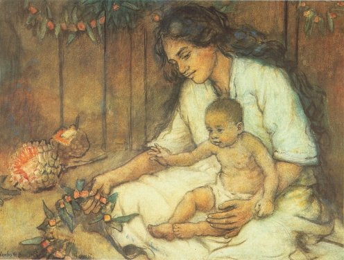 Hanai-Charles_W._Bartlett_-_'Hawaiian_Mother_and_Child',_watercolor_and_pastel_on_art_board,_c._1920