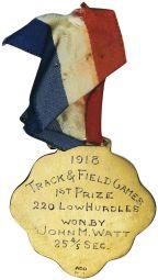 Hawaii Territorial Fair Track & Field Games Medal, 1918
