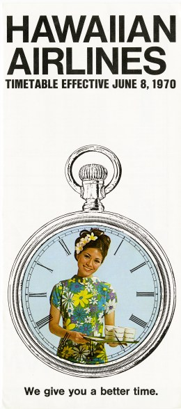 """Timetable issued by Hawaiian Airlines (""""Effective June 8, 1970""""). The cover features the image of a stewardess, dressed in a bright floral dress, holding a tray of drinks. Her photograph is framed by an illustration of a watch. Inner pages feature timetables, fare tables, and a route map."""