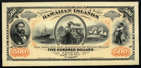 Hawaiian_Islands_Banknote_500_Dollars-1872-1891, reign of King David Kalākaua.
