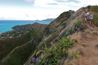 Heading up the trail to lanikai-bunkers