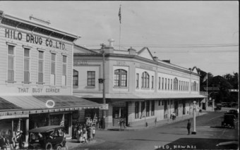Hilo Drug Co., Ltd. near left started by Wetmore-Hilo-PP-29-3-049-1928