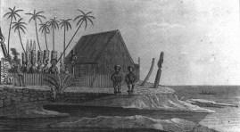 Honaunau, engraving by J. Archer after Rev. William Ellis, 1822-1823. Built by Keaweikekahialiʻiokamoku.