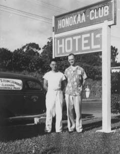 Hotel-Honokaa-Club-Victor Morita with hotel guest ca. 1940s