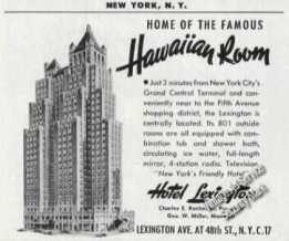Hotel Lexington New York Hawaiian Room (1953)