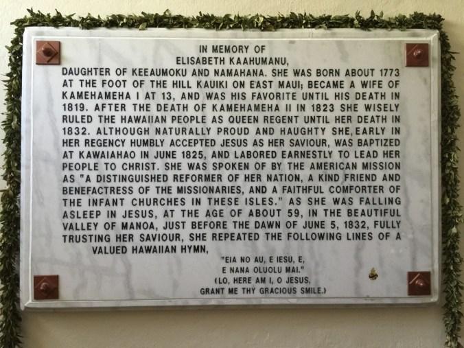 Kaahumanu Commemorative plaque