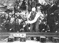 JD Spreckels driving 'golden spike' on the San Diego & Arizona Railway_November_15_1919