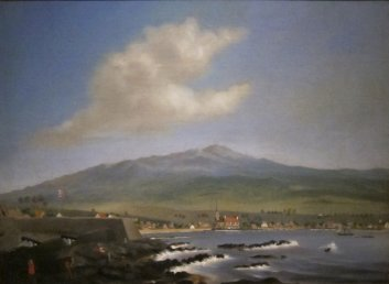 James_Gay_Sawkins,_England,_1806-1878,_Kailua-Kona_with_Hualalai,_Hulihee_Palace_and_Church-Kamakahonu is at left_1852