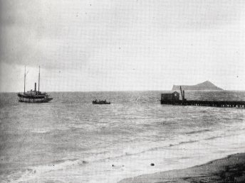John Adams Kuakini Cummins' 80-foot steamer 'Waimanalo' anchored off the Waimanalo Sugar Company's pier