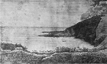 Kaawaloa, Kealakekua Bay. A copperplate engraving from a drawing by Lucy or Persis Thurston about 1835