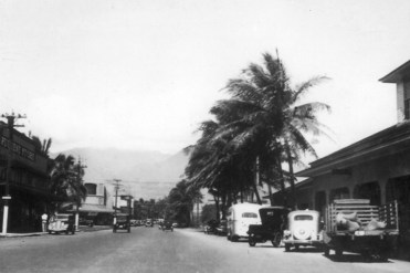Kahului, Maui. Puunene Store, left. Kahului Railroad Station and post office, right-hawaii-edu-Circa 1930s