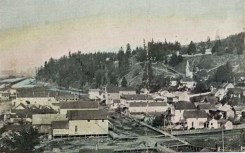 Kalama Business District. Note wooden sidewalks