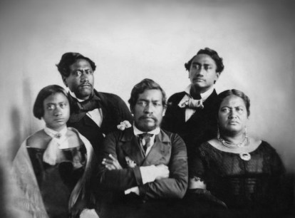 KamehamehaIII & wife Kalama (L); rear KamehamehaIV (L), KamehamehaV (R) & sister, VictoriaKamāmalu (R)