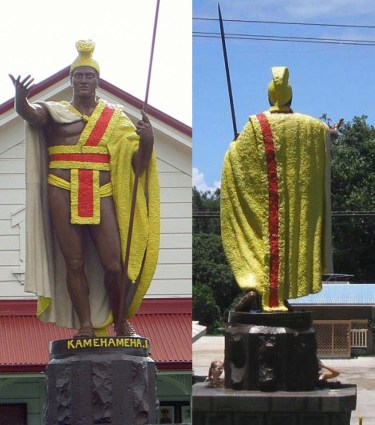 Kamehameha_Statue-Kapaau_front_and_back