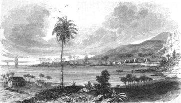 Kealakekua Bay from the village of Kaʻawaloa in the 1820s, from Hiram Bingham I's book