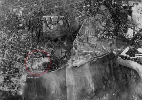 Kewalo-Ala_Wai_aerial-(UH_Manoa)-1927-noting site of Ward Airport