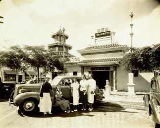 Lau-Yee-Chai-restaurant-P.Y. Chong (left), his son (in the car)-1937-BM