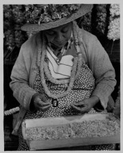 Lei seller wearing and making ilima lei-(HSA)-PP-33-8-028