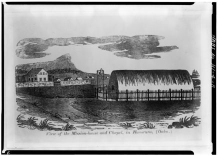MISSION HOUSE AND CHAPEL-from 'Eveleth's History of the Sandwich Islands,' Philadelphia-(LOC)-1831