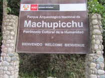 Machu Picchu welcome sign