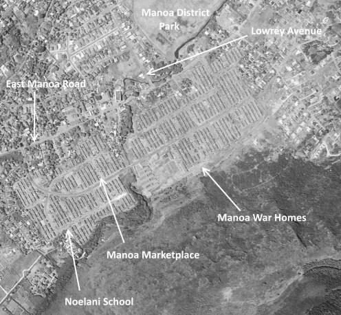 Manoa War Homes-Manoa Valley-UH-USGS-2423-1952-labels