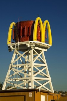 McDonald's water tower above the McDonald's in Barstow, California