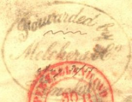 Melcher-postage forwarded by mark-August 30, 1855