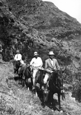 Men on horseback following the Kipu Kai trail. Kauai County, Hawaii. 1909-(USGS)