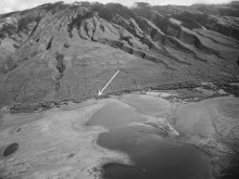 Molokai-Smith-Bronte Crash Site-UH_Manoa-USGS-4222-1949-portion-site noted