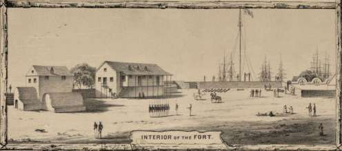No._1._View_of_Honolulu._From_the_harbor._Burgess-(c._1854)
