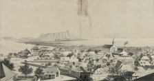No._2._View_of_Honolulu-Emmert-c._1854)-(portion-Hale_Alii_is to the right - flag in front-Kawaiahao Church behind)