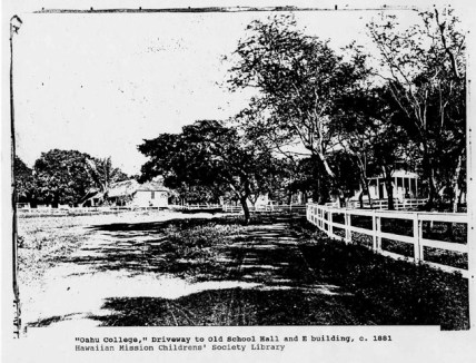 Oahu College scene of driveway to Old School Hall and E Building, c.1881