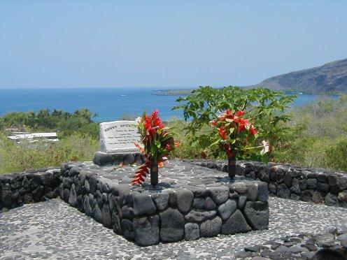 Opukaha'ia's gravesite at Kahikolu Church overlooking Kealakekua Bay