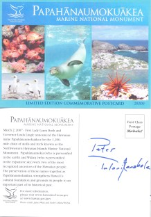 Papahanaumokuakea Naming Ceremony-postcard-signed by Pua Kanahele-03-02-2007