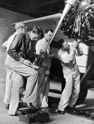Pilot Amelia Earhart readies her plane at Wheeler Field, Hawaii, for a flight across some Pacific islands-NatlGeographic