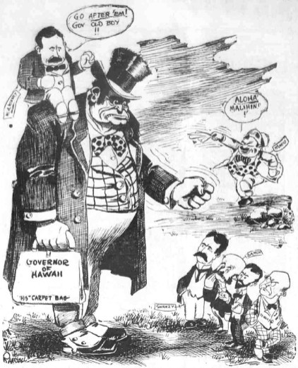 Political cartoon depicting Kinney on the shoulder of a governor going after sugarcane plantation interests-1912