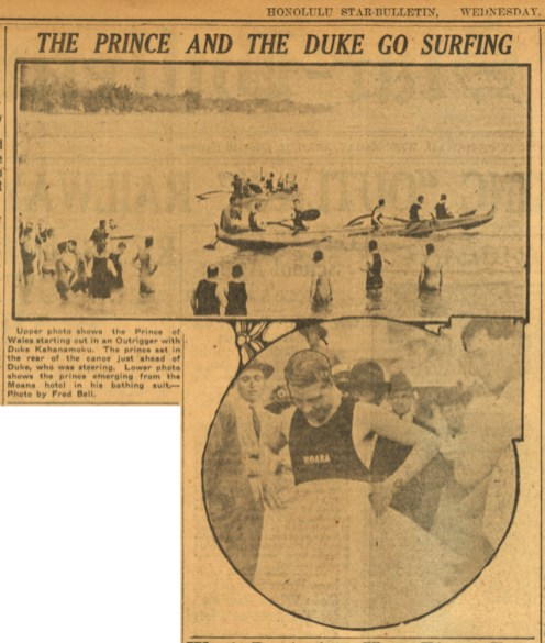 Prince Edward-and_Duke_Kahanamoku_go_Surfing