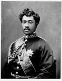 Prince William Pitt Leleiohoku II wearing uniform with the royal orders of Kamehameha I and Kalakaua I-(PP-98-8-014)-about_1874