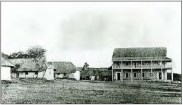 Punahou School, Photograph attributed to Charles Burgess-1866-E bldg to left-Old School Hall right