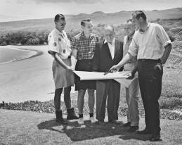 Robert Trent Jones Sr., center in jacket, designed the Mauna Kea golf course-Laurance Rockefeller to his right