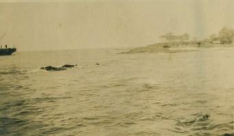 Rocks where Thaddeus landed-Ahuena ruins in background-1928