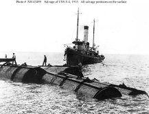 Salvage of F-4 (SS-23). Valve manifold and hose leads to submerged pontoons, on board a salvage vessel off Honolulu-(navsource-org)-circa 29 August 1915
