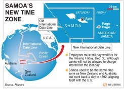 SAMOA-TIME/ - Map locating Samoa and the international date line. The Pacific island nations is changing its date on Friday. RNGS. (SIN01)