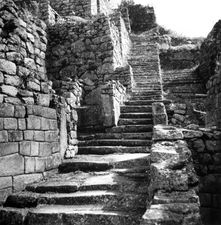 The staircase leading up the Machhu Picchu.