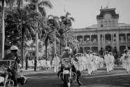 Statehood-Marching band at the Iolani Palace on Statehood Day-(HSA)