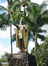 Statue of Kamehameha I, located in the Wailoa River recreation area of Hilo