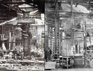 Statue of Liberty -Hand and torch being built in a Paris studio around 1876