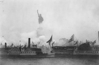 Statue of Liberty, 'Liberty Enlightening the World,' in New York Harbor, on October 28, 1886
