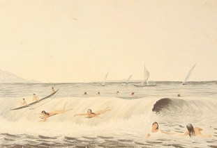 Surfing-Bathing_scene,_Lahaina,_Maui,_watercolor,_by_James_Gay_Sawkins-1855